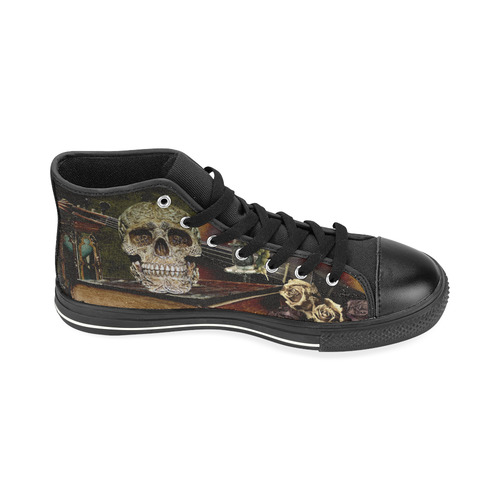 Funny Skull and Book High Top Canvas Shoes for Kid (Model 017)