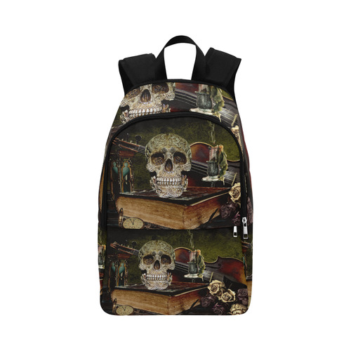 Funny Skull and Book Fabric Backpack for Adult (Model 1659)