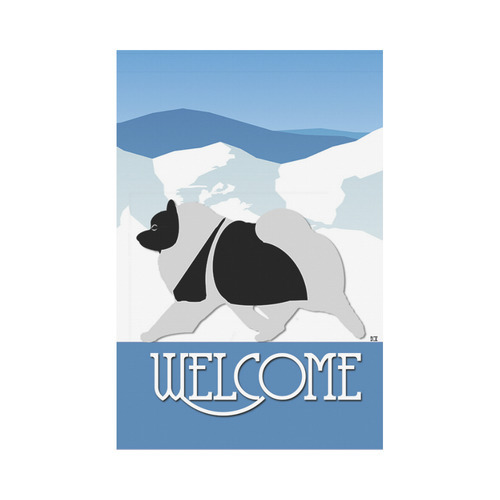 Keeshond Rockin the Rockies welcome Garden Flag 12''x18''(Without Flagpole)