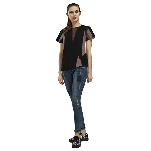 pink and black andtract 459 All Over Print T-Shirt for Women (USA Size) (Model T40)
