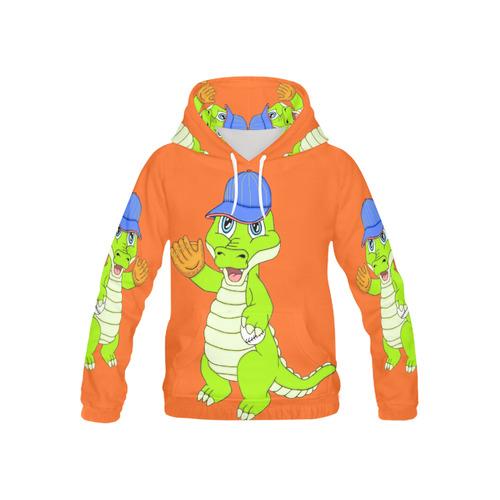 Baseball Gator Orange All Over Print Hoodie for Kid (USA Size) (Model H13)