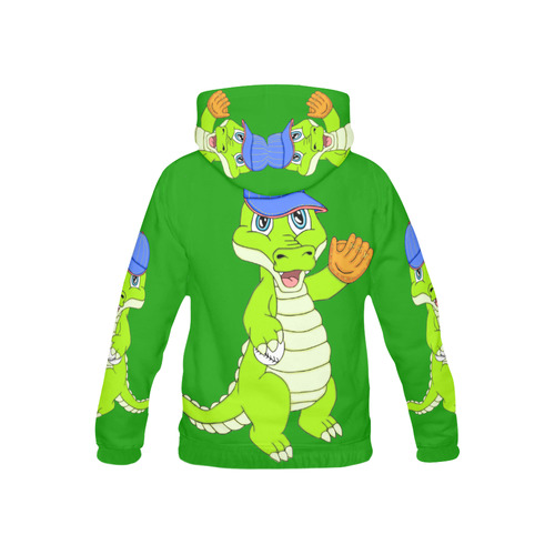 Baseball Gator Green All Over Print Hoodie for Kid (USA Size) (Model H13)