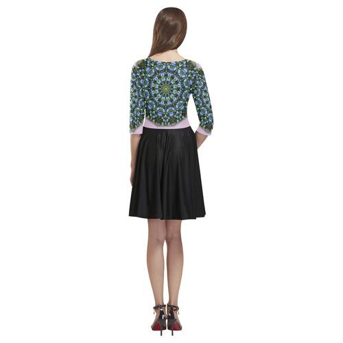 Forget-me-nots, Forgetmenot, Nature Flower Mandala, Vergiss mein nicht 002 02.3 Tethys Half-Sleeve Skater Dress(Model D20)