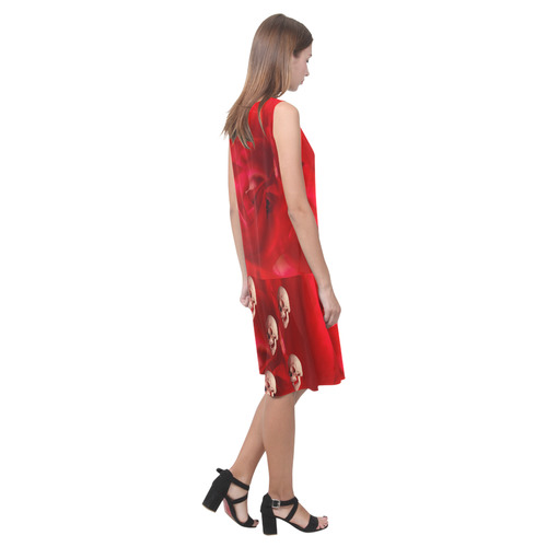 Funny Skull and Red Rose Sleeveless Splicing Shift Dress(Model D17)