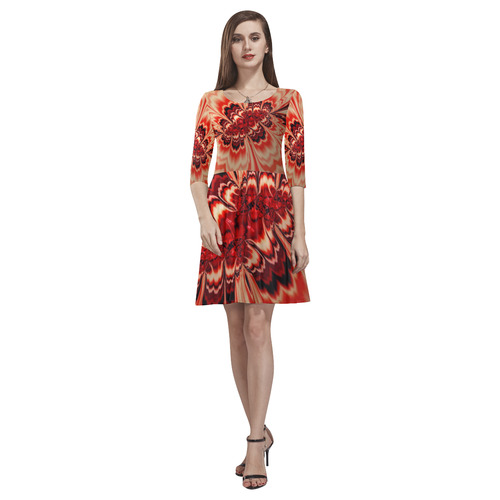 amazing Fractal 43 red by JamColors Tethys Half-Sleeve Skater Dress(Model D20)
