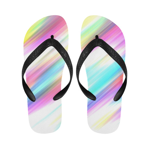 Rainbow Stripe Abstract Flip Flops for Men/Women (Model 040)