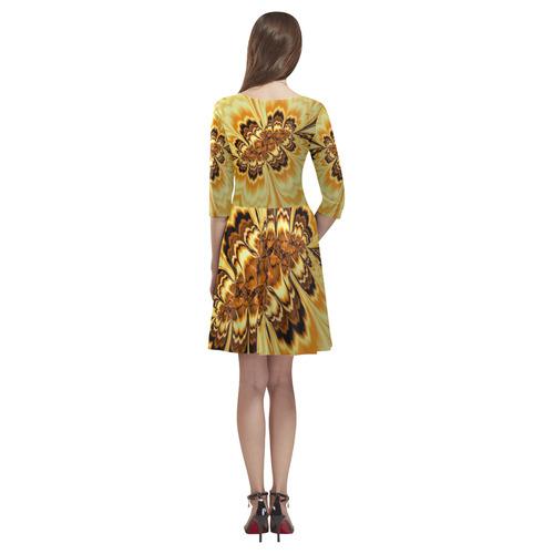 amazing Fractal 43 golden by JamColors Tethys Half-Sleeve Skater Dress(Model D20)
