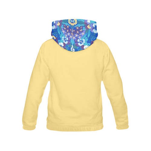 Vintage Floral Pansy All Over Print Hoodie for Women (USA Size) (Model H13)