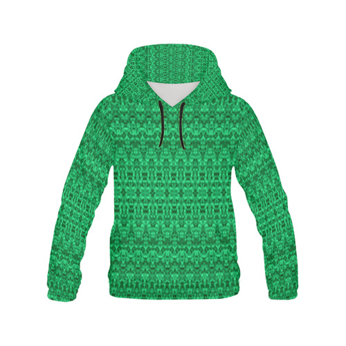 a5d50b2bb39dc2 Abstract Green Damask Pattern All Over Print Hoodie for Women (USA Size)  (Model H13)
