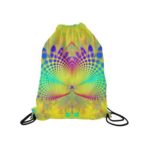 "Summers Tropical Awakening Fractal Abstract Medium Drawstring Bag Model 1604 (Twin Sides) 13.8""(W) * 18.1""(H)"