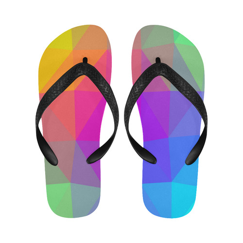 Triangle Rainbow Abstract Flip Flops for Men/Women (Model 040)
