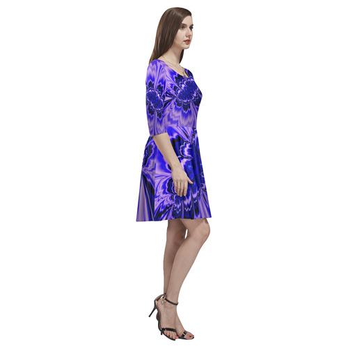 amazing Fractal 43 blue by JamColors Tethys Half-Sleeve Skater Dress(Model D20)