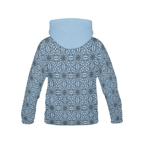 Airy Blue Black Lace All Over Print Hoodie for Women (USA Size) (Model H13)