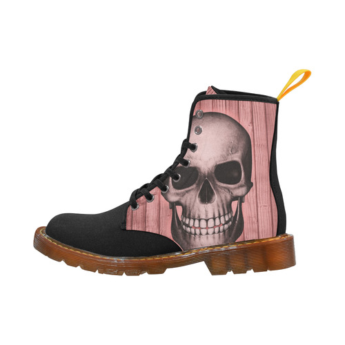 skull on wooden planks C by JamColors Martin Boots For Women Model 1203H