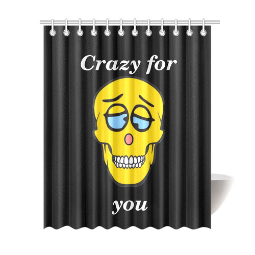 """Crazy Skully by Popart Lover Shower Curtain 69""""x84"""""""