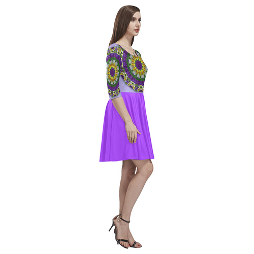 Pansies, Pansy, Nature Flower Mandala, violet 002 03 (A738FF) Tethys Half-Sleeve Skater Dress(Model D20)
