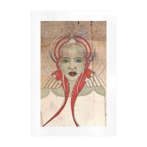queen beautiful woman girl pretty face red white fantasy art by agnes laczo Art Print 19''x28''