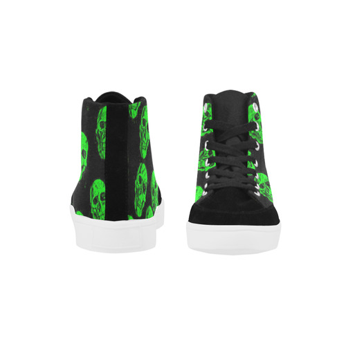 Hot Skulls, green by JamColors Herdsman High Top Shoes for Women/Large Size (Model 038)