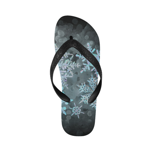 Snowflakes, snow, white and blue, Christmas Flip Flops for Men/Women (Model 040)