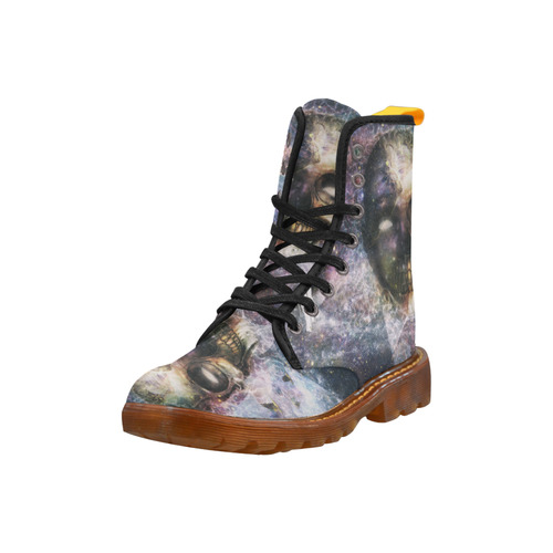 Psychedelic Skull and Galaxy Martin Boots For Women Model 1203H