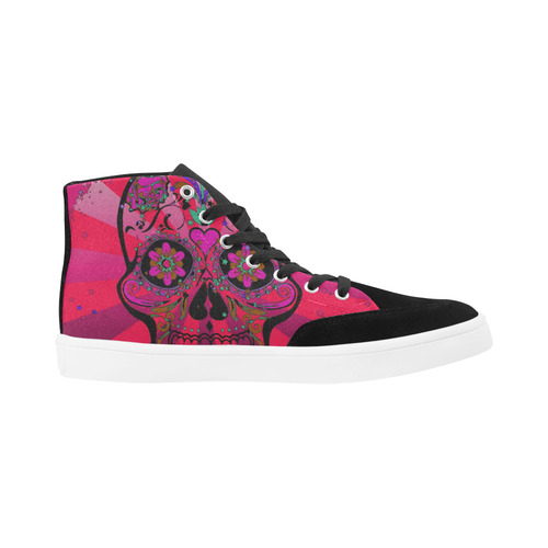 psychedelic Pop Skull 317H by JamColors Herdsman High Top Shoes for Women (Model 038)