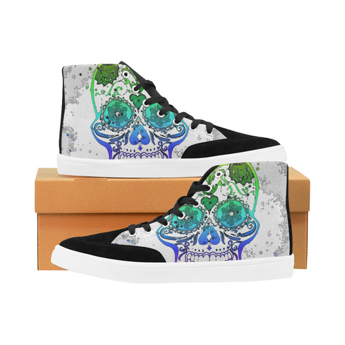 psychedelic Pop Skull 317E by JamColors Herdsman High Top Shoes for Women/Large Size (Model 038)