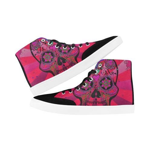 psychedelic Pop Skull 317H by JamColors Herdsman High Top Shoes for Women/Large Size (Model 038)