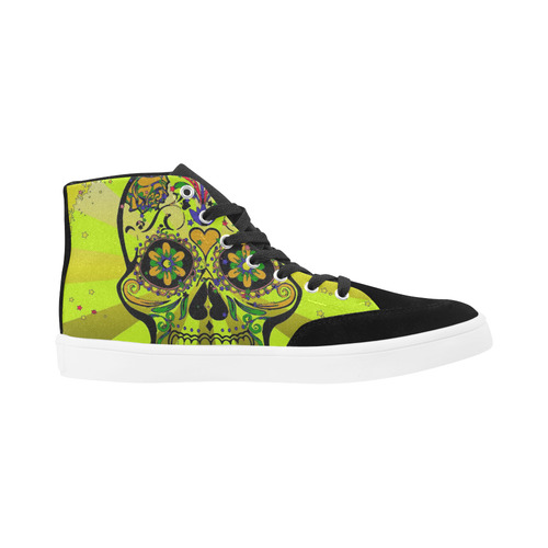 psychedelic Pop Skull 317G by JamColors Herdsman High Top Shoes for Women (Model 038)
