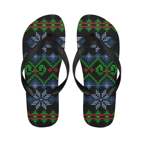 Ugly Christmas Sweater Knit, Christmas Flip Flops for Men/Women (Model 040)