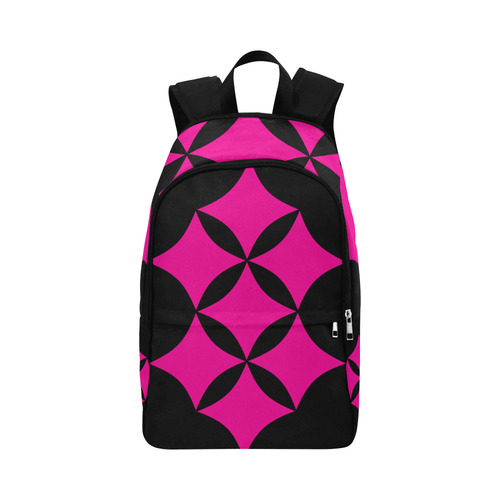 Black Background Curved Rhombuses Cut Fabric Backpack for Adult (Model 1659)