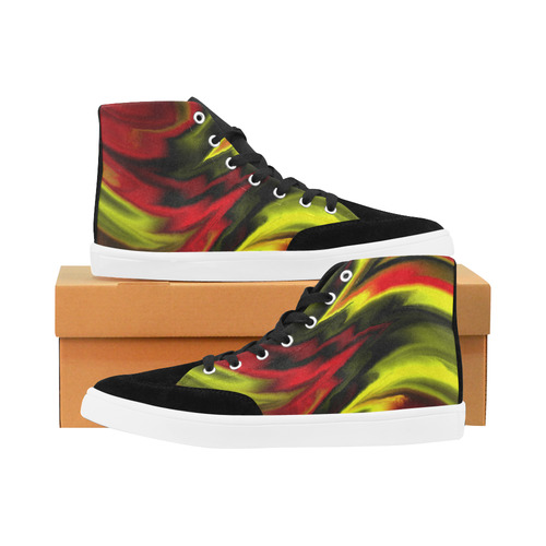 fractal waves B by JamColors Herdsman High Top Shoes for Women/Large Size (Model 038)