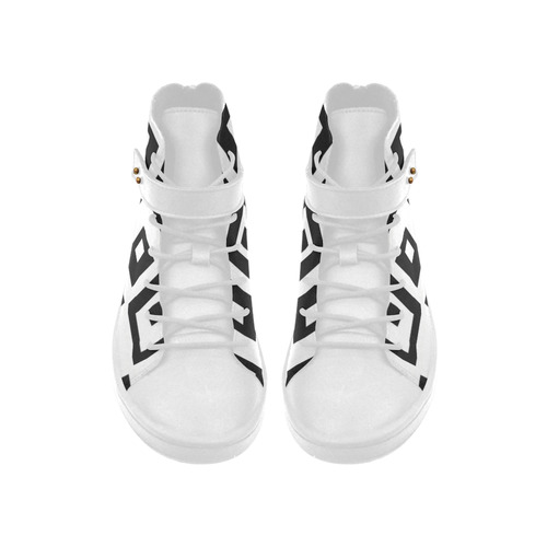 Black & White Cubes Lyra Round Toe Women's Shoes (Model 310)