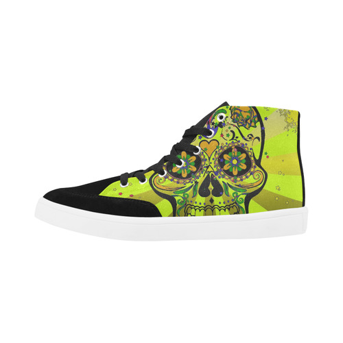 psychedelic Pop Skull 317G by JamColors Herdsman High Top Shoes for Women/Large Size (Model 038)