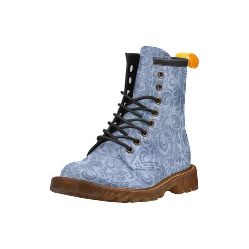 Denim with vintage floral pattern, blue boho High Grade PU Leather Martin Boots For Men Model 402H