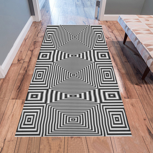 Flickering geometric optical illusion Area Rug 7'x3'3''