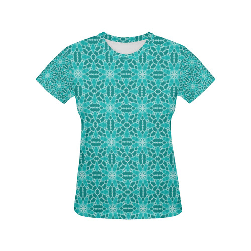 Teal Lace All Over Print T-Shirt for Women (USA Size) (Model T40)