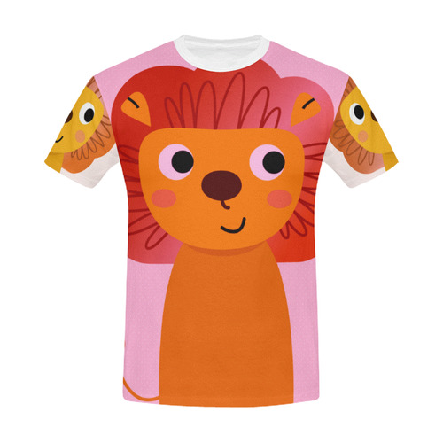 Designers t-shirt : Vintage lion. Full printed t-shirt for Lady ORANGE All Over Print T-Shirt for Men (USA Size) (Model T40)