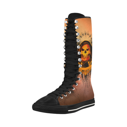 The skulls Canvas Long Boots For Women Model 7013H