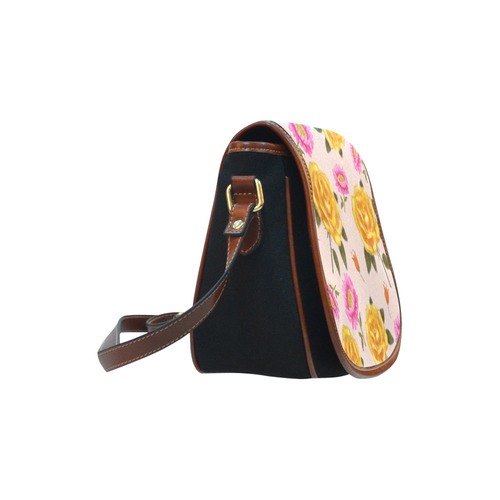 643096877dee ... yellow pink rose flower floral pattern design by agnes laczo Saddle Bag Small  (Model ...