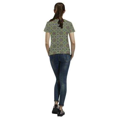 Green Khaki All Over Print T-Shirt for Women (USA Size) (Model T40)