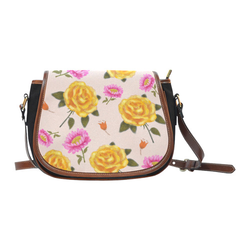 e44f38d1ce68 yellow pink rose flower floral pattern design by agnes laczo Saddle Bag Small  (Model 1649)(Flap Customization)