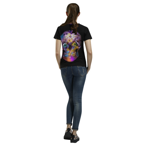 Amazing Floral Skull A by JamColors All Over Print T-Shirt for Women (USA Size) (Model T40)