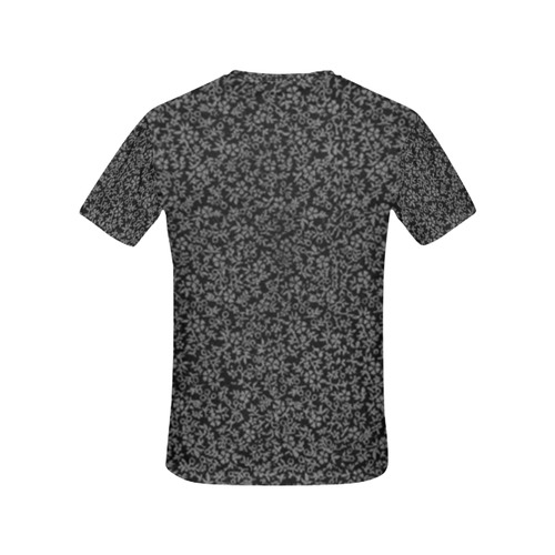 Vintage Floral Black All Over Print T-Shirt for Women (USA Size) (Model T40)