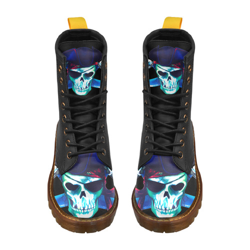 Pirate Skull High Grade PU Leather Martin Boots For Men Model 402H