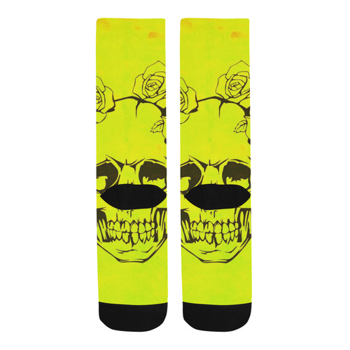 Skull with roses, yellow Trouser Socks