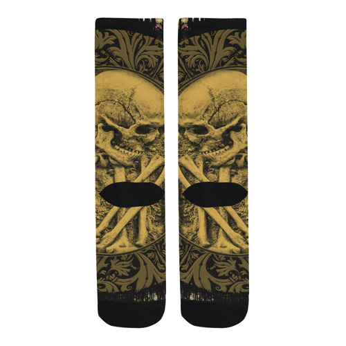 The skeleton in a round button with flowers Trouser Socks