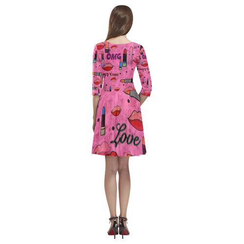 Lipstick Popart by Nico Bielow Tethys Half-Sleeve Skater Dress(Model D20)