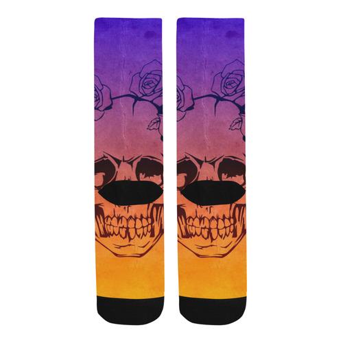 Skull with roses,gradient 1 Trouser Socks