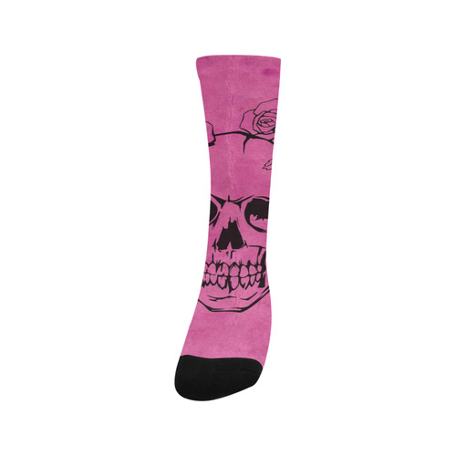 Skull with roses, pink Trouser Socks