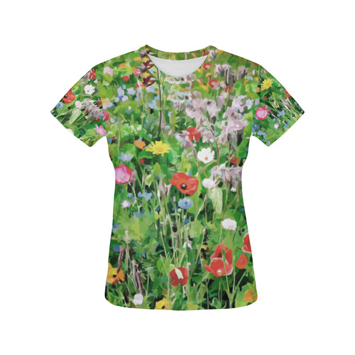 Colorful Flower Garden Floral Art All Over Print T-Shirt for Women (USA Size) (Model T40)